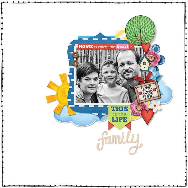 Weekend at Home digital scrapbooking page | scrapbook layout ideas | Kate Hadfield Designs creative team layout by Dagi