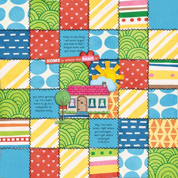 Weekend at Home digital scrapbooking page | scrapbook layout ideas | Kate Hadfield Designs creative team layout by Keela