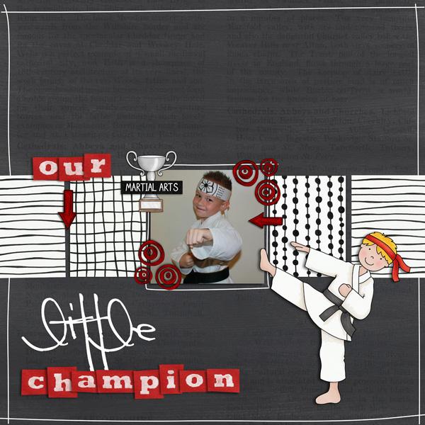 Black Belt - digital scrapbook layout from Kate Hadfield Designs creative team member Cynthia