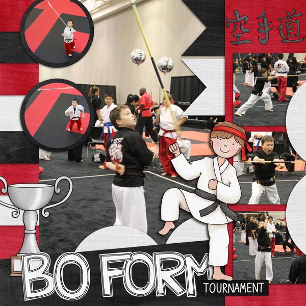 Black Belt - digital scrapbook layout from Kate Hadfield Designs creative team member Rebecca