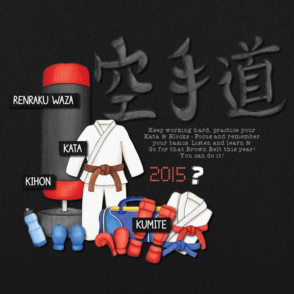 Black Belt - digital scrapbook layout from Kate Hadfield Designs creative team member Vicky